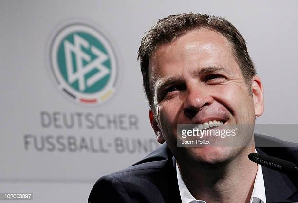 Team manager Oliver Bierhoff of Germany speaks to the media during a press conference in the media center at Velmore Grande Hotel on June 12, 2010 in...