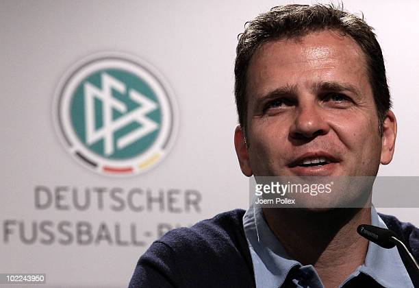 Team manager Oliver Bierhoff of Germany speaks to the media during a press conference in the media center at Velmore Grande Hotel on June 20, 2010 in...