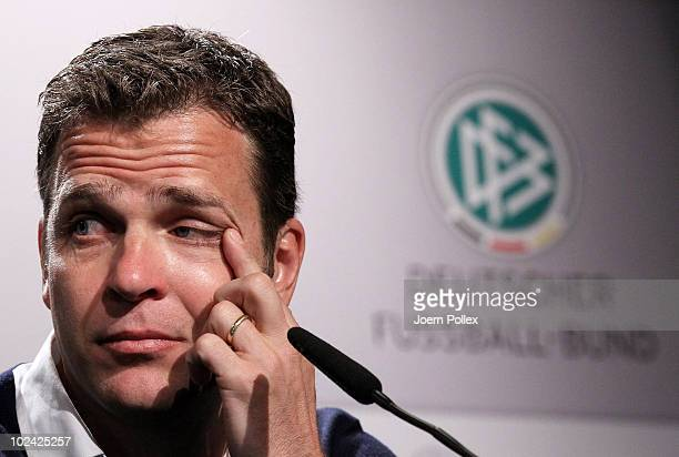 Team manager Oliver Bierhoff of Germany speaks to the media during a press conference in the media center at Velmore Grande Hotel on June 26, 2010 in...