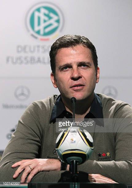 Team manager Oliver Bierhoff of Germany speaks to the media during a press conference in the media center at the Velmore Grand Hotel on July 9 2010...