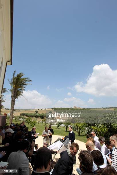 Team manager Oliver Bierhoff of Germany talks to the media during a press conference at Verdura Golf and Spa Resort on May 18 2010 in Sciacca Italy