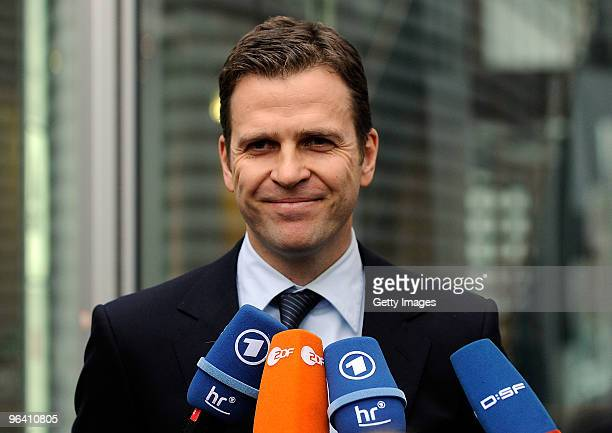 Team manager Oliver Bierhoff of the German football association talks to the media after the DFB Executive Board Meeting on February 4, 2010 in...
