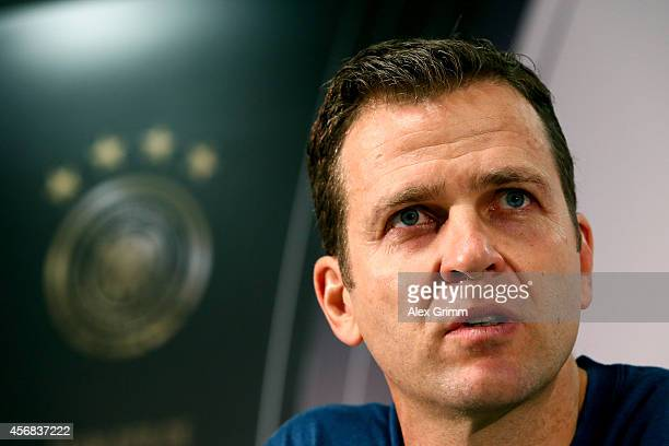 Team Manager Oliver Bierhoff talkes to the media during a press conference at Commerzbank Arena on October 8 2014 in Frankfurt am Main Germany