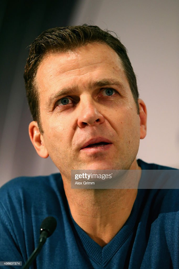 Team Manager Oliver Bierhoff talkes to the media during a press conference at Commerzbank Arena on October 8, 2014 in Frankfurt am Main, Germany.