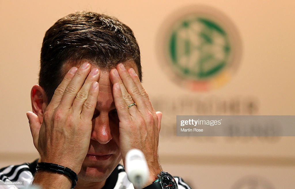 Team manager Oliver Bierhoff talks to the media during the German National team press conference at Campo Bahia on June 9, 2014 in Santo Andre, Brazil.