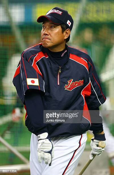 Team Manager Tatsunori Hara of Japan looks on during a practice prior to playing an exhibition match between Japan and Australia at Kyocera Dome...