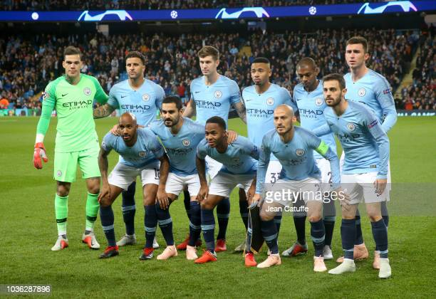 Team Manchester City poses before the Group F match of the UEFA Champions League between Manchester City and Olympique Lyonnais at Etihad Stadium on...