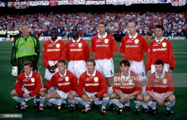 Team Manchester United lineup during the UEFA Champions league final match between Manchester United and Bayern Munich on May 26 1999 in Camp Nou...
