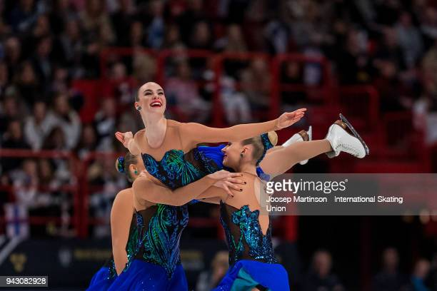 Team Marigold Ice Unity of Finland compete in the Free Skating during the World Synchronized Skating Championships at Ericsson Globe on April 7 2018...