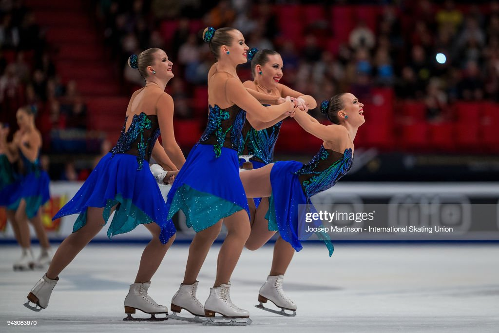 Team Marigold Ice Unity of Finland compete in the Free Skating during the World Synchronized Skating Championships at Ericsson Globe on April 7, 2018 in Stockholm, Sweden.