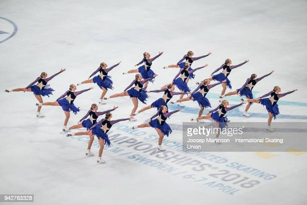 Team Marigold Ice Unity of Finland compete in the Short Program during the World Synchronized Skating Championships at Ericsson Globe on April 6 2018...