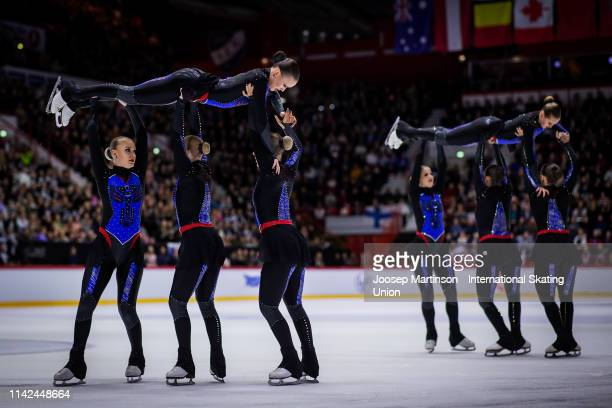 Team Marigold Ice Unity of Finland perform in the Free Skating during day two of the ISU World Synchronized Skating Championships at Helsinki Arena...