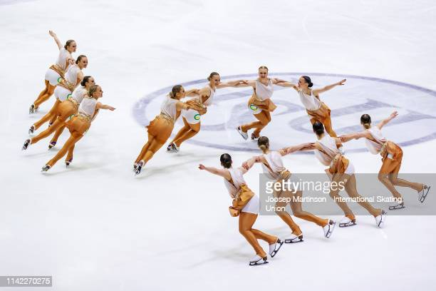 Team Marigold Ice Unity of Finland perform in the Short Program during day one of the ISU World Synchronized Skating Championships at Helsinki Arena...