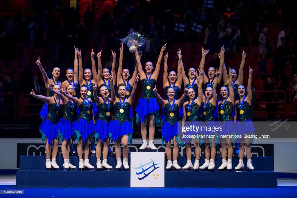 Team Marigold Ice Unity of Finland pose in the medal ceremony during the World Synchronized Skating Championships at Ericsson Globe on April 7, 2018 in Stockholm, Sweden.