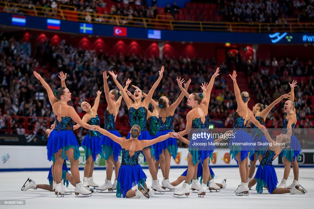 Team Marigold Ice Unity of Finland react in the Free Skating during the World Synchronized Skating Championships at Ericsson Globe on April 7, 2018 in Stockholm, Sweden.