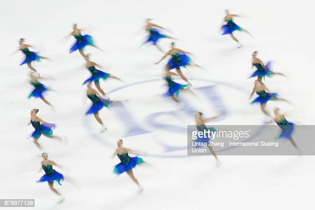 Team Marigold Iceunity of Finland performs during a Synchronized Skating free skate duirng the 2017 Shanghai Trophy at the Oriental Sports Center on...