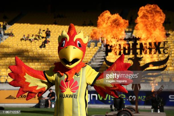 Team mascot Nixie of the Phoenix poses during the Round 1 ALeague match between the Wellington Phoenix and Western United FC at Westpac Stadium on...