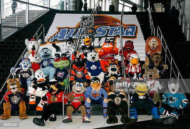 NHL team mascots pose together for a group photo before the 56th NHL AllStar Game at the CNN Center on January 27 2008 in Atlanta Georgia