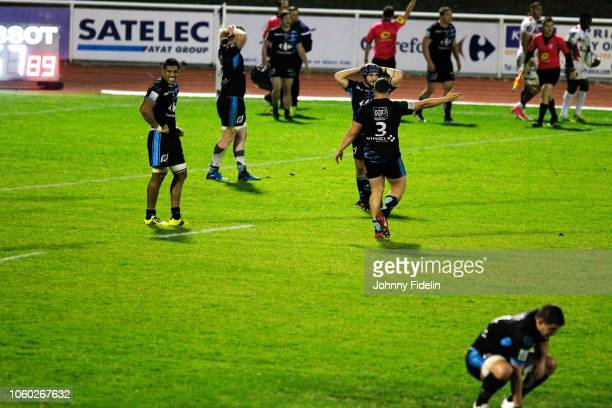 Team Massy looks dejected during the Pro D2 match between Massy and Oyonnax on November 9 2018 in Massy France