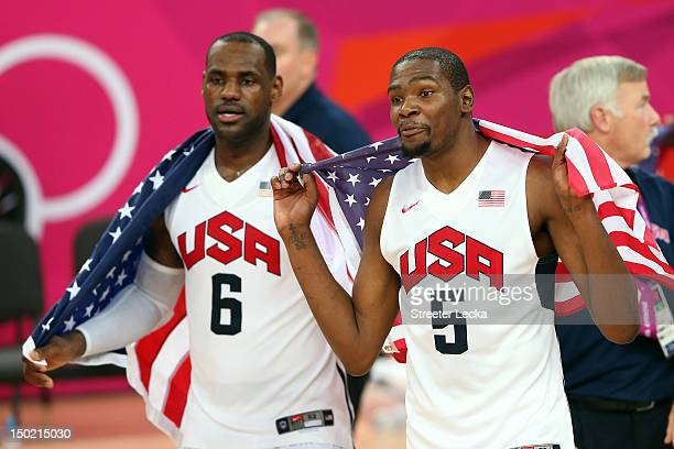 Team mates LeBron James of the United States and Kevin Durant of the United States celebrate winning the Men's Basketball gold medal game between the...