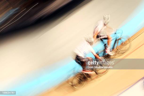 Team mates Niki Terpstra of Netherlands and Iljo Keisse of Belgium compete during the Rotterdam 6 Day Cycling at Ahoy Rotterdam on January 6 2013 in...