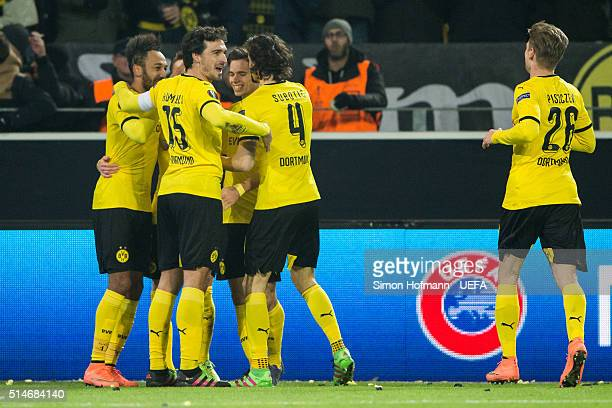 Team mates of Dortmund celebrate their second goal during the UEFA Europa League Round of 16 First Leg match between Borussia Dortmund and Tottenham...