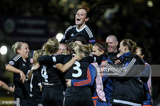 Team mates of Frankfurt celebrate winning after the UEFA Women's Champions League quarter final second leg match between 1 FFC Frankfurt and FC...