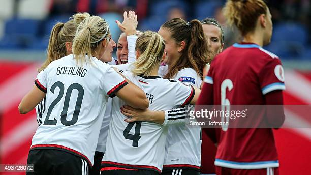 Team mates of Germany celebrate their first goal during the UEFA Women's Euro 2017 Qualifier match between Germany and Russia at BRITAArena on...