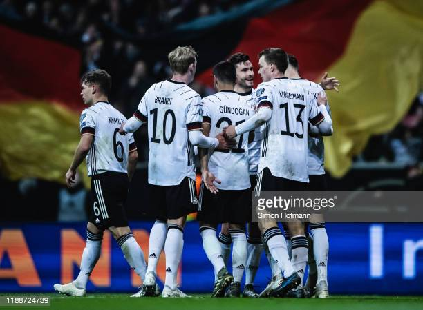 >Team mates of Germany celebrate their second goal during the UEFA Euro 2020 Qualifier between Germany and Northern Ireland at Commerzbank Arena on...