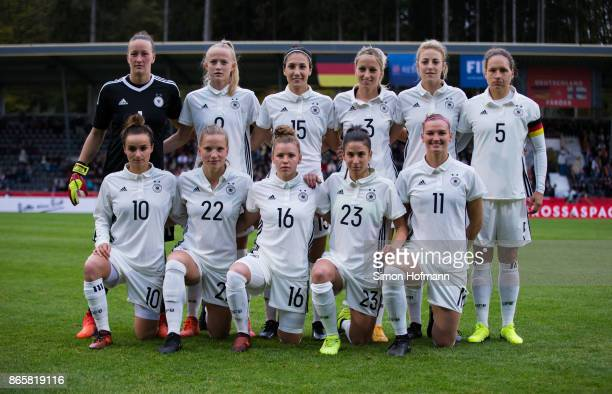 Team mates of Germany pose for a team picture prior to the 2019 FIFA Women's World Championship Qualifier match between Germany and Faroe Islands at...