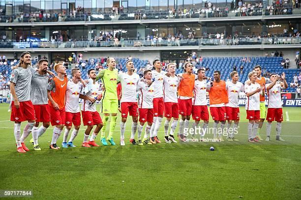 Team mates of Leipzig celebrate after the Bundesliga match between TSG 1899 Hoffenheim and RB Leipzig at Wirsol RheinNeckarArena on August 28 2016 in...