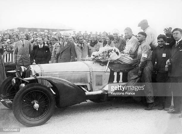 Team Mates Tazio Nuvolari And Raymond Sommer Congratulated Upon Havin Gwon The 24 Hours Of Le Mans Race At The Wheel Of An Alfa Romeo On June 19 1933