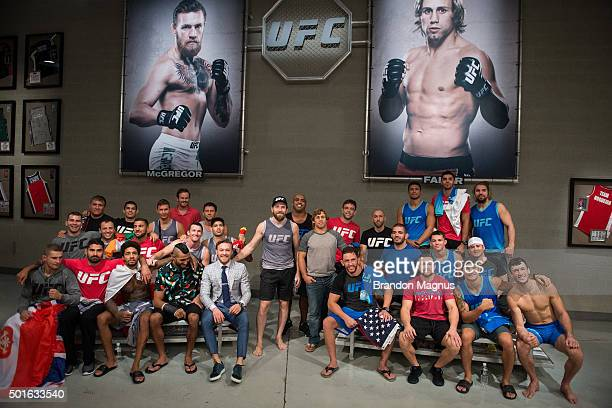 Team McGregor and Team Faber pose for a team picture during the filming of The Ultimate Fighter: Team McGregor vs Team Faber at the UFC TUF Gym on...