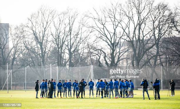 Team meeting of Hertha BSC during the training session at Schenckendorffplatz on January 26, 2021 in Berlin, Germany.