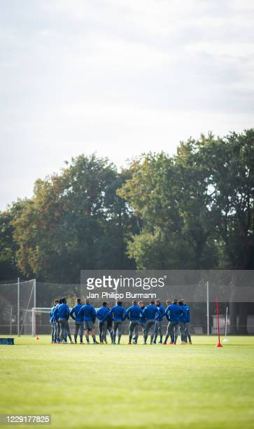 team meeting of Hertha BSC during the training session on October 20 2020 in Berlin Germany