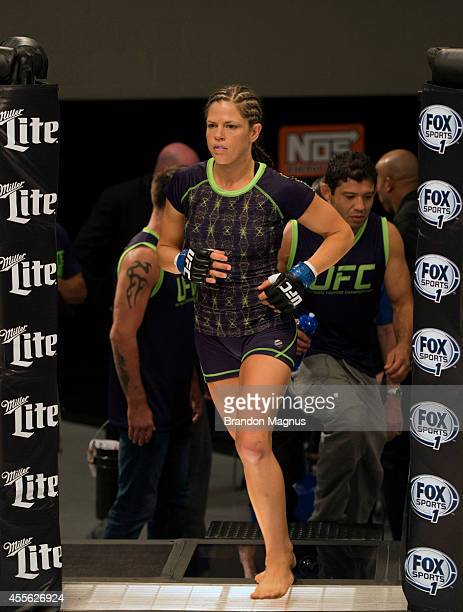 Team Melendez fighter Emily Kagan enters the Octagon before facing team Pettis fighter Joanne Calderwood during filming of season twenty of The...