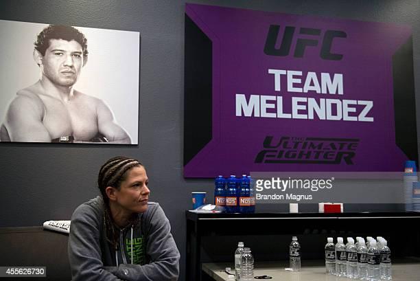 Team Melendez fighter Emily Kagan prepares to warm up before facing team Pettis fighter Joanne Calderwood during filming of season twenty of The...