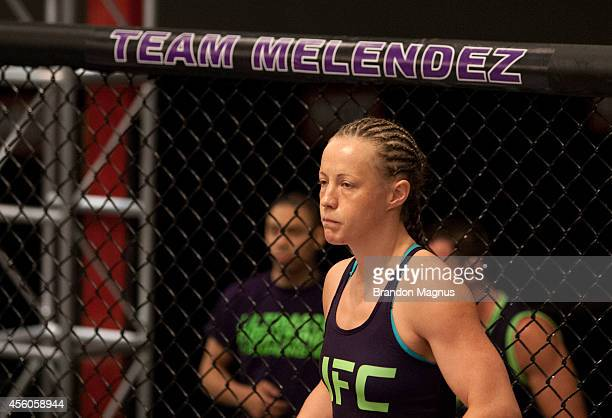 Team Melendez fighter Lisa Ellis enters the Octagon before facing team Pettis fighter Jessica Penne during filming of season twenty of The Ultimate...