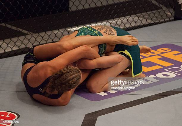 Team Melendez fighter Rose Namajunas attempts to submit team Pettis fighter Joanne Calderwood in the quarterfinals during filming of season twenty of...