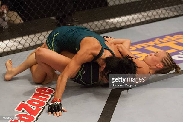 Team Melendez fighter Rose Namajunas attempts to submit team Pettis fighter Randa Markos during filming of season twenty of The Ultimate Fighter on...