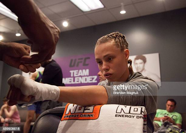Team Melendez fighter Rose Namajunas gets her hands wrapped before facing team Pettis fighter Joanne Calderwood in the quarterfinals during filming...