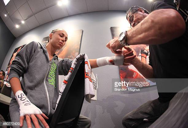 Team Melendez fighter Rose Namajunas gets her hands wrapped before facing team Pettis fighter Randa Markos during filming of season twenty of The...