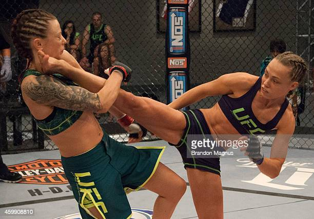 Team Melendez fighter Rose Namajunas kicks team Pettis fighter Joanne Calderwood in the quarterfinals during filming of season twenty of The Ultimate...