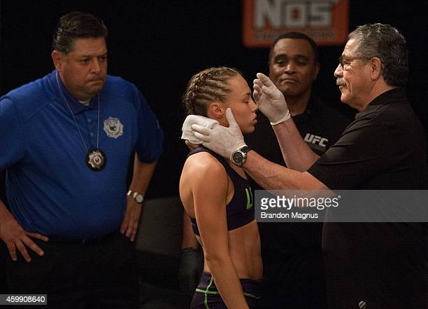 Team Melendez fighter Rose Namajunas prepares to enter the Octagon before facing team Pettis fighter Joanne Calderwood in the quarterfinals during...