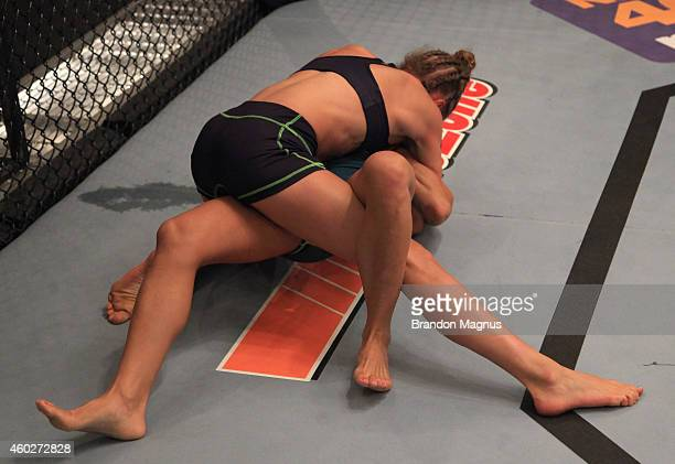 Team Melendez fighter Rose Namajunas takes down team Pettis fighter Randa Markos during filming of season twenty of The Ultimate Fighter on August...