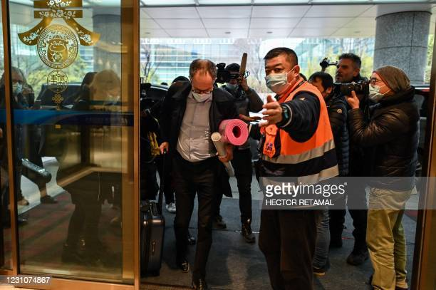 Team member Peter Ben Embarek and other members of the group arrive at Tianhe International Airport to leave Wuhan in China's central Hubei province...