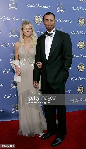USA team member Tiger Woods with his fiance Elin Nordegren arriving at the 35th Ryder Cup Matches Gala Dinner at the Fox Theater on September 15 2004...