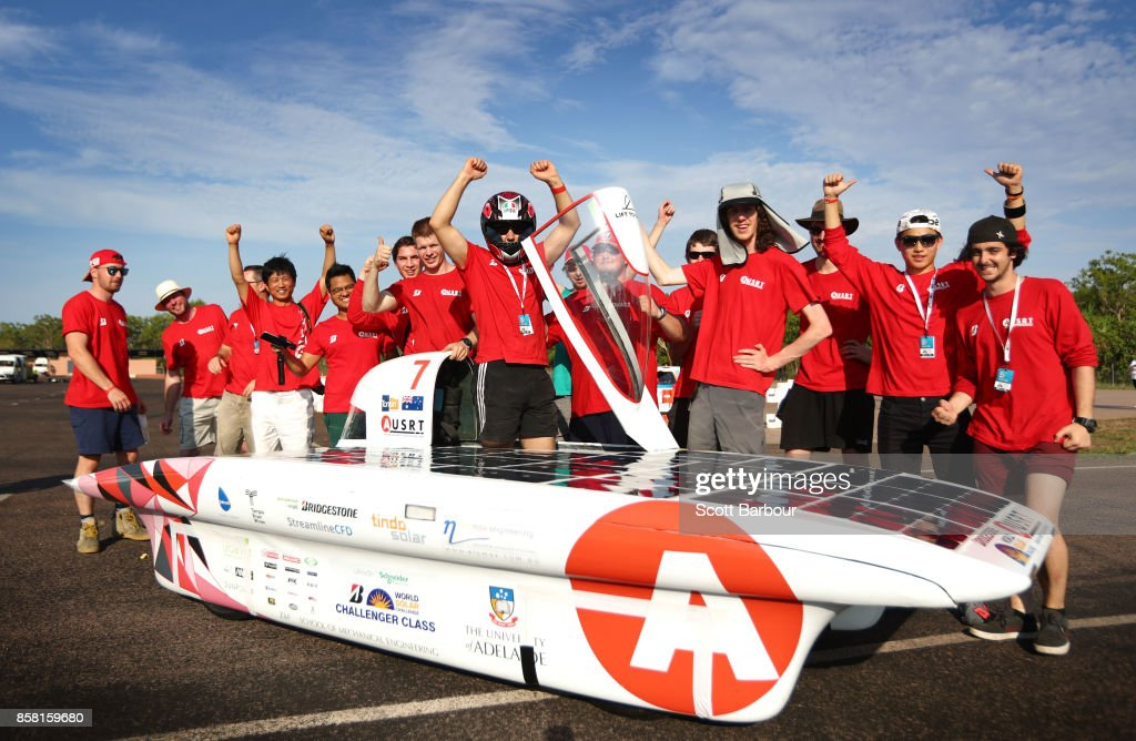 Team members celebrate after Lumen II, the car from Australia's Adelaide University Solar Racing Team passes the figure 8 testing at the Hidden Valley Motor Sport Complex before competing in the Challenger class ahead of the 2017 Bridgestone World Solar Challenge on October 6, 2017 in Darwin, Australia. Teams from across the globe are competing in the 2017 World Solar Challenge - a 3000 km solar-powered vehicle race through the Australian Outback between Darwin and Adelaide. The race attracts teams from around the world, most of which are fielded by universities or corporations although some are fielded by high schools. The race has a 30-year history spanning thirteen races, with the inaugural event taking place in 1987. The race begins on October 8th with the first car expected to cross the finish line on October 11th.