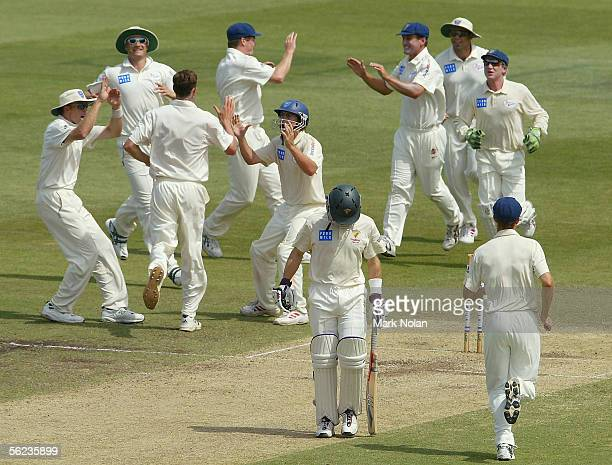 NSW team members celebrate the wicket of Jamie Cox of Tasmania off the bowling of Matthew Nicholson during day two of the Pura Cup Cup match between...