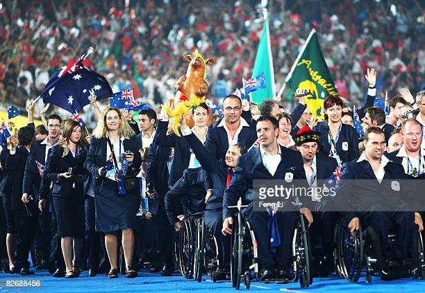 Team members from Australia enter the stadium during the Opening Ceremony for the 2008 Paralympic Games at the National Stadium on September 6 2008...